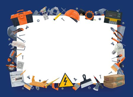Diy tools, instruments vector border frame. Construction hardware, electric, repair and carpentry work tools. Screwdriver and saw, hammer and toolbox, planer, nippers and vise, cement and drill Stock Illustratie