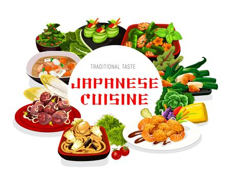 Japanese cuisine vector food meals and dishes. Cucumber rolls with caviar, filipino shellfish and salad, Japanese seafood noodles with shrimps, liver and butaziru pork soup round frame