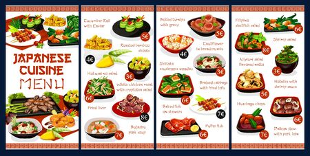 Japanese cuisine menu cover vector template. Restaurant cuisine shrimp salad, chicken meat and baked fish on skewers. Braised cabbage with fried tofu and daikon stew with pork loin asian dishes Ilustração