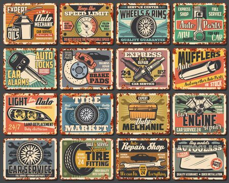 Car service rusty metal plates, vintage rust signs. Mechanic garage station vector grunge posters, transportation advertising signs. Car engine repair station, vehicle spare parts shop, rusty plates Illustration