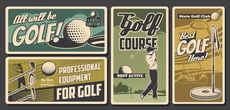 Golf sport club, professional golfer equipment store vintage vector cards. State golf club championship, tournament. Sportsman with stick in swing shot and golf cart. Course rent retro posters