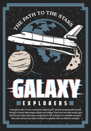 Outer space exploration cosmic retro poster with glitch effect. Galaxy explorer adventure, vector vintage card with astronaut spaceship shuttle on earth orbit, mars planet, moon and stars in universe Vettoriali