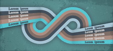Retro poster background with infinity loop endless symbol. Vector grunge design vintage card, abstract eternity sign made of stripes and place for typography. Limitless loop retro backdrop