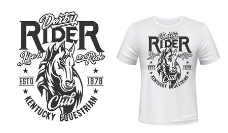 Horse stallion t-shirt print. Racing, equestrian sport club vector mascot. Mare animal, monochrome horse head and grunge typography on white apparel template. Bronco sports team t-shirt mockup Illustration