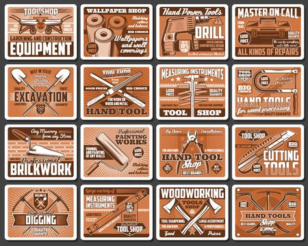 Construction and DIY tools retro vector posters. Hardware, carpentry and brickwork instruments vintage cards. Woodwork tools shop, house remodeling, building and repair equipment Stock Illustratie