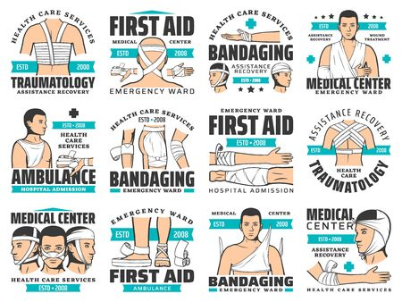 First aid and wound bandaging vector icons. Accident injury emergency ward and trauma ambulance service. Traumatology first aid medical center, arm and leg head and shoulder fracture symbols Ilustrace