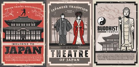 Japan travel vector retro posters. Japanese culture traditions, vintage welcome to Japan, geisha and samurai in kabuki theater, Buddhist religious temple, ninja and tea ceremony house cards