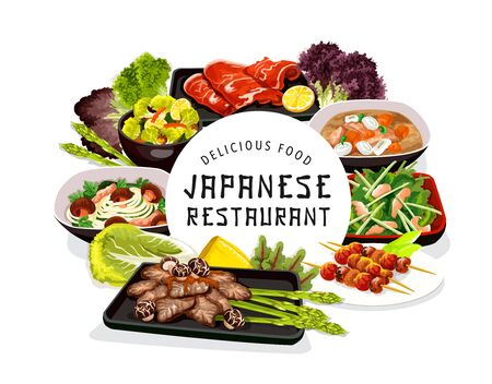 Japanese cuisine food, vector noodles with shiitake mushrooms, puffer fish or butaziru pork soup. White chicken meat with cryptotea salad, baked fish on skewers. Seafood restaurant round frame