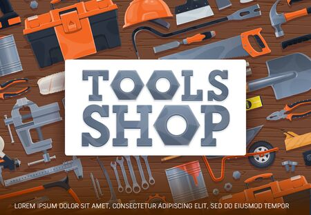 Construction tools and diy toolbox vector poster. Carpentry, house renovation and building equipment store. Painting brush and hammer, wrenches set, hacksaw and pliers, masonry and plastering tools