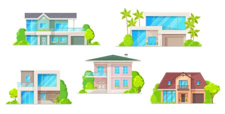 Houses, cottage and residential buildings, real estate vector icons. Cartoon exterior facades of family homes, houses or mansion apartments and villas, urban property. Isolated buildings