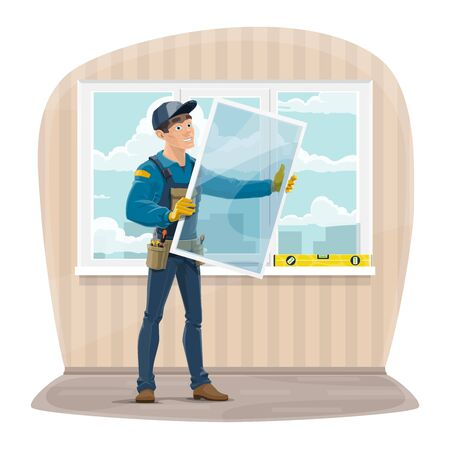 Plastic windows install and repair service. Installer worker in uniform with tools holding a new glass frame. Master installing and fixing windows in apartment. Building construction industry