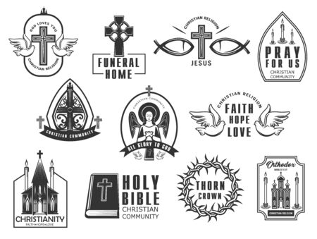 Christian religion isolated vector icons set. Cross with doves and Jesus Christ fish symbols. Christian community monochrome signs with praying angel, Bible, church and orthodox monastery buildings