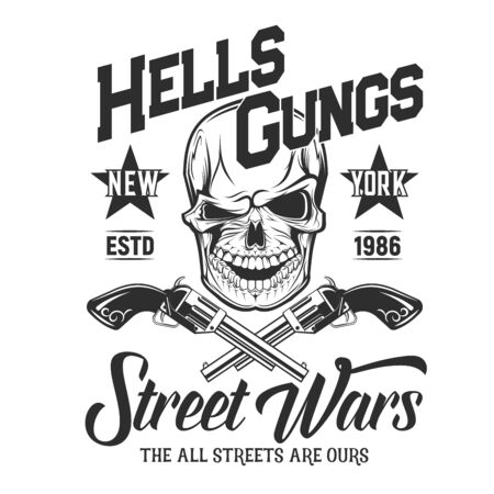 Skull with guns t-shirt print mockup. Vector mascot death a laughing head with crossed guns. Vector t-shirt print with monochrome skull emblem. Gangster head with weapon, street wars