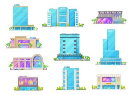 Hotel and night club buildings architecture isolated cartoon vector icons. Luxury apart hotels, city hostel apartments, nightclub resort. Building icons with glass facade, palm tree and parked cars
