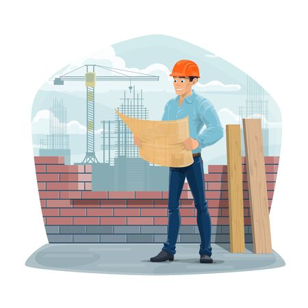 Architect, engineer or builder foreman at construction site. Cartoon worker with blueprint or house project plan in hands stand near brick wall. Cartoon building engineer in safety helmet