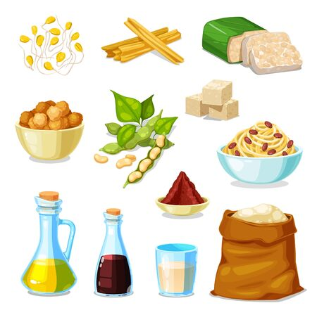 Soy bean food product vector set with legume soybeans, tofu and tempeh, oil, sauce and milk. Vegetarian soya meat skin, flour bag and noodle bowl, miso paste, meatball and sprouted soy beans with pods