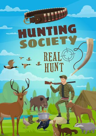 Hunter with rifle, dog, animals and tent in forest camp. Hunting season opening, cartoon vector. Deer and ducks, boar and badger, hare and sable, capercaillie and quail. Hunting sport Illustration