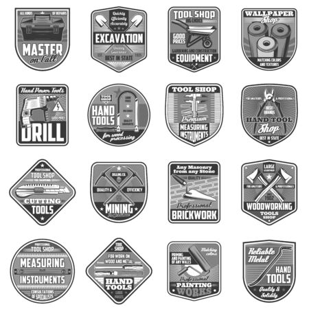 Building, DIY and repair tools vector icons. Building construction and gardening toolbox and trowel, nail clipper, pickaxe and wheelbarrow, fretsaw, drill and shovel, wallpaper, nippers and hacksaw