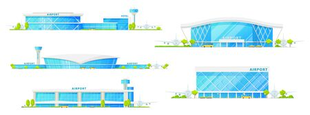 Airport buildings with glass facade vector isolated icons. Airplane runway, control tower, hotel and passenger terminal infrastructure, airport with public transport bus and taxi cars