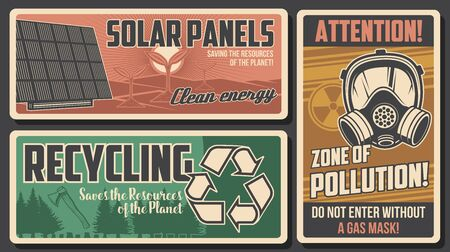 Environment retro posters, vector solar panels, attention warning with gas mask and radiation symbol. Recycling and deforestation, ecology and environmental save planet resources vintage cards set
