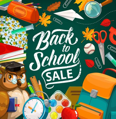 Back to school education season sale, vector poster, student items and lessons supplies. School backpack, owl teacher with book, watercolors and alarm clock, pen, pencil and ruler, leaves and flowers