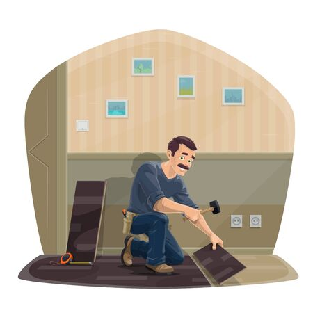 Laminate flooring service. Cartoon worker with hammer and tools sitting on floor fitting a laminate pieces. Construction industry, handyman business. Home renovation and repair works