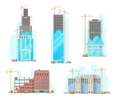 Building construction isolated cartoon vector icons. Industrial working cranes put stone blocks on buildings facade, concrete mixer and lorry with sand riding on site. Urban architecture build process