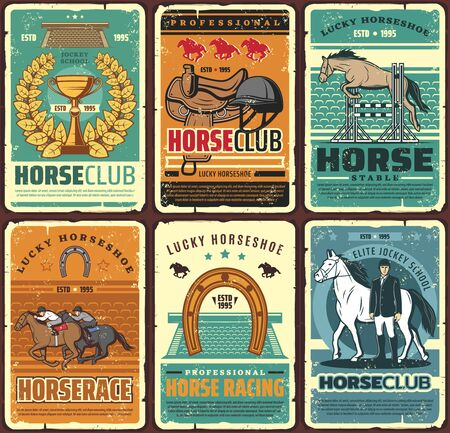Horse riding and equestrian sport hippodrome vintage posters. Vector equestrian ride elite jockey school. Horseback riding sport retro cards with lucky horseshoe, golden cup, saddle