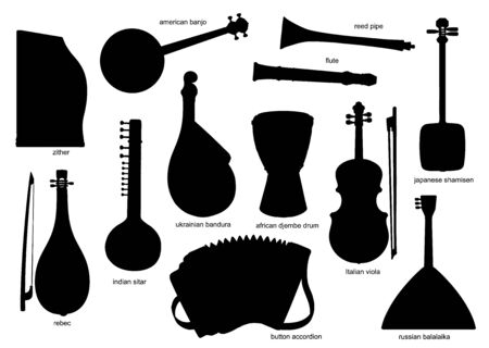 Black silhouettes of musical instruments. Isolated vector zither, american, banjo and reed pipe, flute, shamisen and rebec. Sitar, bandura and jembe drum, italian viola, button accordion and balalaika