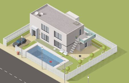 Isometric house 3d cottage building. Vector bungalow, villa or mansion design with green yard and swimming pool. City and village real estate house with car garage, balcony, bbq and terrace