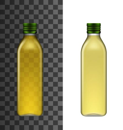 Olive oil bottle isolated realistic vector 3d mockup. Glass narrow high bottle with short neck and green screw cap, extra virgin olive or sunflower cooking oil mockup