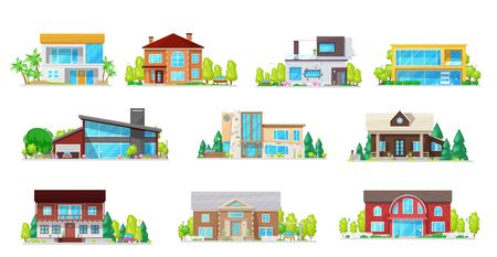 Houses, real estate villas and cottages isolated vector icons. Cartoon village residential buildings and private property architecture, mansions, townhouse family apartments with garage and trees