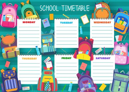School timetable schedule template of vector education. Student lesson chart plan or weekly study planner with school supplies, pupil bags or backpacks, books, pencils and pens, paint and brush