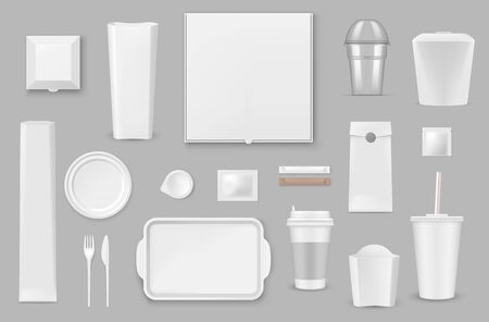 Plastic, paper disposable tableware realistic vector mockups set. Pizza, french fries and popcorn box, container for hot food, drink paper cup with lid and straw, tray and fork, plate and sauce, sugar