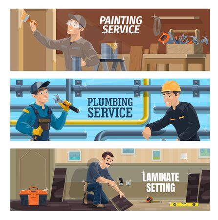 Plumber, painter and laminate flooring installer workers. Plumber repairing a pipeline, stacker laying a laminate plank, painter with brush painting a wall. Construction, room renovation industry