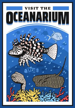 Oceanarium with lionfish, moray eel, stingray and corals, underwater wild life show, undersea world zoo with marine ocean sea animals. wildlife aquarium festival event, vector cartoon lion fish