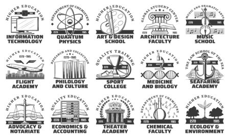 University, college and academy education vector icons. Higher school educational monochrome isolated symbols, information technology, arts and design, architecture and flight academy, music school