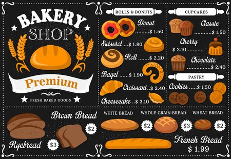 Baker shop and patisserie vector menu template. Bread and pastry assortment on black board with flour. Pie and swissroll, bagel and buns, donut, croissant and baguette, ryebread, donut and cookes