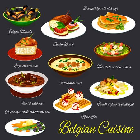 Belgian cuisine restaurant dishes vector set. Brussels spouts with eggs, potato and tuna salad, flemish style white asparagus, nut waffles and mushroom soup, liege cake, belgian mussels and bread
