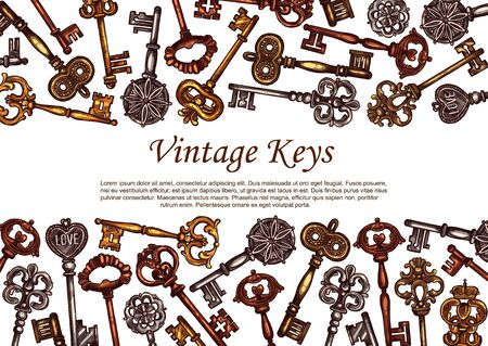 Vintage keys vector sketch, skeleton medieval metal door keys decorated with ornamental forged elements on bow and tip. Antique retro bronze or brass skeleton castle dungeon pirate clues
