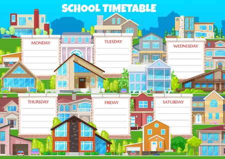 School timetable vector weekly shedule with buildings and residential houses. Weekly schedule with information about lessons . School education timetable calendar with modern apartments Иллюстрация