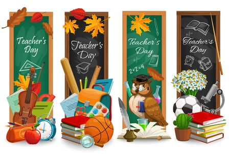 Teachers Day blackboard banners of education holiday. Vector school supplies and student stationery with books, pens and pencils, pupil bag, class chalkboard and microscope, greeting card design