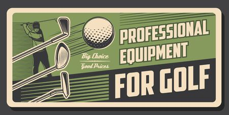 Golf sport retro poster. Golfer swing a ball with club. Professional sports equipment store vintage vector design. Tournament, championship game. Golf player striking a ball with stick on green putter