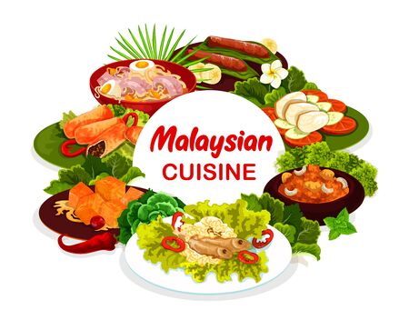 Malaysian cuisine round vector banner. Baked meat pies and banana dessert, devils hot meat, pumpkin pieces in coconut milk, chicken noodle soup and bean sprouts with anchovies. Malaysian cuisine menu