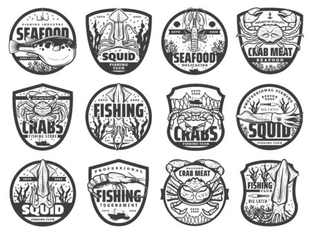 Sea fishing sport isolated icons, monochrome vector emblems for fishing club, tournament and fishery store. Fisher equipment, sea crab and fugu fish, ocean lobster and squid, shrimp and prawn