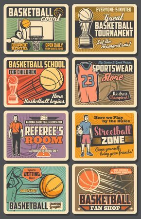 Basketball players vector retro posters. Sport game championship, match with balls, winner trophy cups, hoop and team players on arena stadium. Referee room, basketball competition vintage cards set Illustration