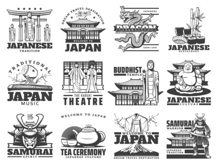Japanese culture and travel, traditions and landmark vector icons. Fuji mount, kabuki theater kimono and samurai, musical instruments and tea ceremony isolated monochrome symbols and icons