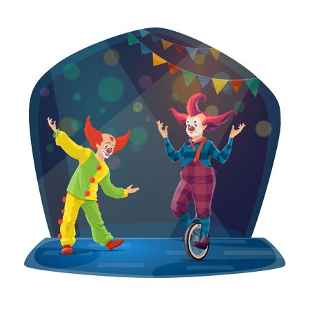 Circus clown cartoon characters on chapiteau big top arena. Vector carnival joker and jester performing comedy show with costumes, fake noses, red wigs and unicycle, amusement park and funfair design