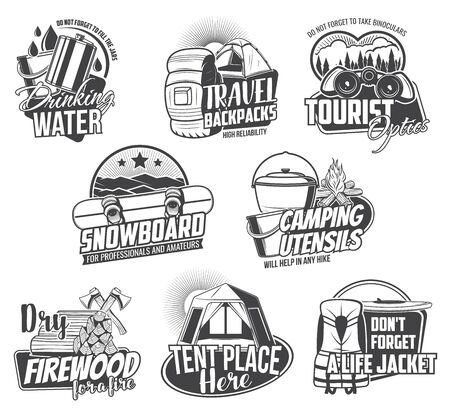 Travel tourism and camping vector icons. Travel symbols with water jar, cooking bowl, tent and firewood, ax and binoculars. Monochrome vintage icons of hiking club, travel activity and tourism