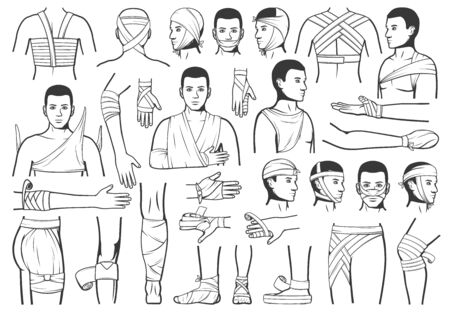 Trauma bandaging, wound first aid, vector characters. Accident injury emergency ward and trauma ambulance service. Traumatology first medical aid, arm and leg head and wrist fracture bandage